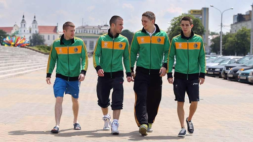 Paddy Barnes, John Joe Nevin, Jason Quigley and Michael Conlan in Minsk today