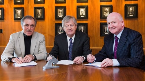 Seán Benton, Páraic Duffy and Barry O'Brien at the recent signing of the lease documents in Blanchardstown
