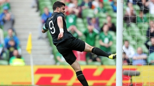 Shane Long kicks the post in frustration after missing a chance in the Republic of Ireland's 4-0 win over Georgia