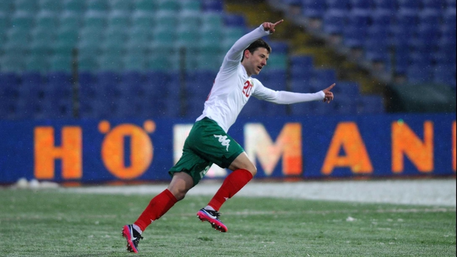 Aleksandar Tonev celebrates scoring against Malta during World Cup 2014 qualification