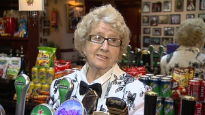 Maureen Grant, aged 88, behind the bar in the Olympia in 2013