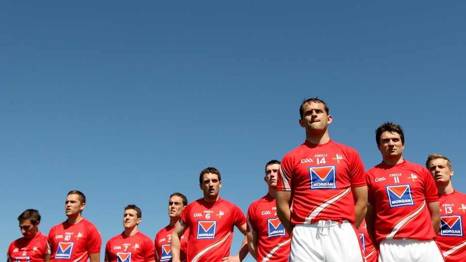 Louth players stand to attention head of their Leinster SFC clash with Wexford in Drogheda