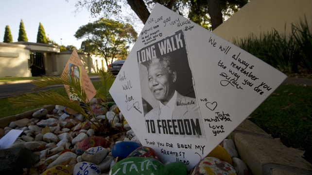 Messages for Nelson Mandela are pictured outside of his Johannesburg home