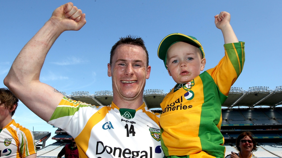 Donegal's Paddy Hannigan celebrates with his son Sean Og after their Nicky Rackard win over Roscommon
