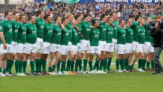 The team line out before the game
