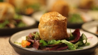 Black Pudding & Goats Cheese Parcels with a Red Onion Marmalade & a Mixed Leaf Salad - The perfect dish to impress friends with. The flavours work magically together. A dish not to be missed!!