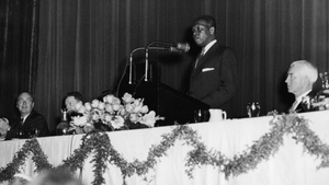Nelson Mandela speaks at a conference in the early 1960s