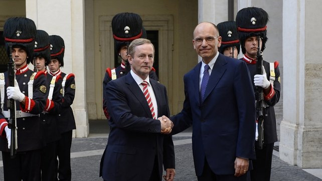 Enda Kenny and Enrico Letta were expected to discuss the Irish EU presidency and the economies of Ireland and Italy
