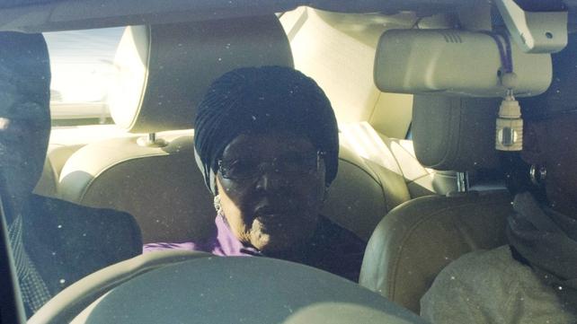 Winnie Madikizela-Mandela arrives at the Mediclinic Heart Hospital in Pretoria