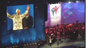 Nelson Mandela on stage at Croke Park, during the opening ceremony of the Special Olympics