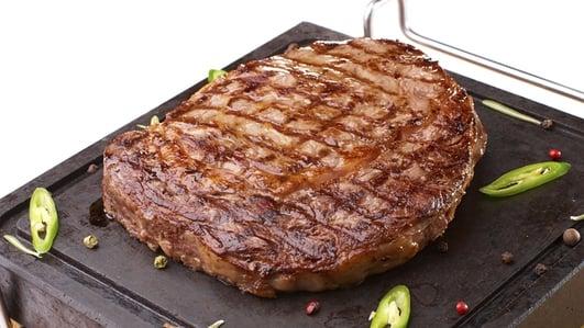 Nevens Recipes - Rib-eye steak with little gem & Cashel Blue dressing