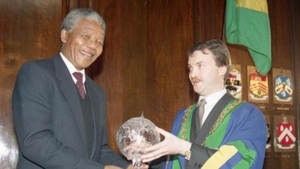 Nelson Mandela accepted his honour as Freeman of Dublin City in the the Mansion House in 1990, almost two years after it had been awarded to him (Pic: Dublin City Library and Archive)