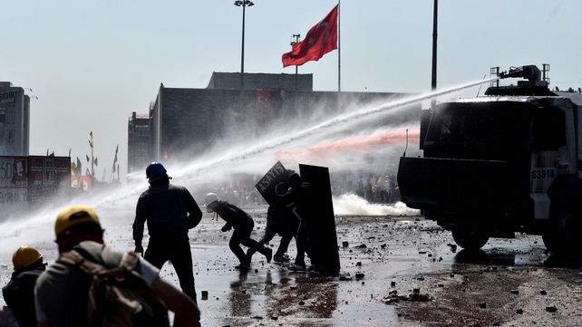 Police in Istanbul used water cannon to move protesters