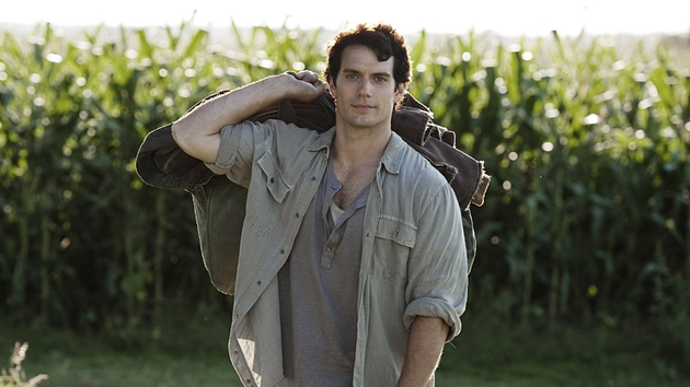 Henry Cavill as a young Clark Kent