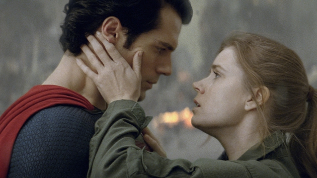 Superman and Lois Lane pucker up for the camera