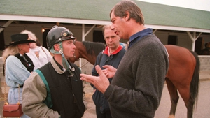 Henry Cecil and jockey Shane Sellers pictured at Churchill Downs ahead of Eltish's (sixth) run in the 1995 Kentucky Derby won by Thunder Gulch