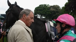Henry Cecil and Richard Hughes after Passage Of Time landed the Musidora Stakes at York in 2007