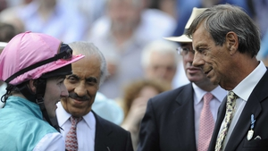 Joy with Juddmonte - Tom Queally debriefs Henry Cecil, Khalid Abdullah and Teddy Grimthorpe after Twice Over wins the Coral Eclipse at Sandown in 2010