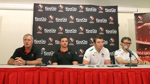 Canada coach Kieran Crowley and captain Aaron Carpenter pictured with counterparts Les Kiss and Peter O'Mahony at today's press conference ahead of Saturday's match