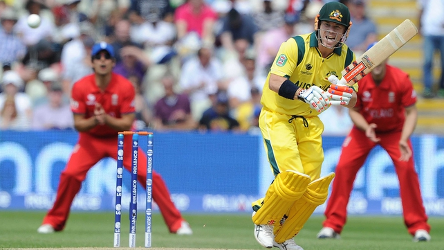 David Warner in action in the defeat to England