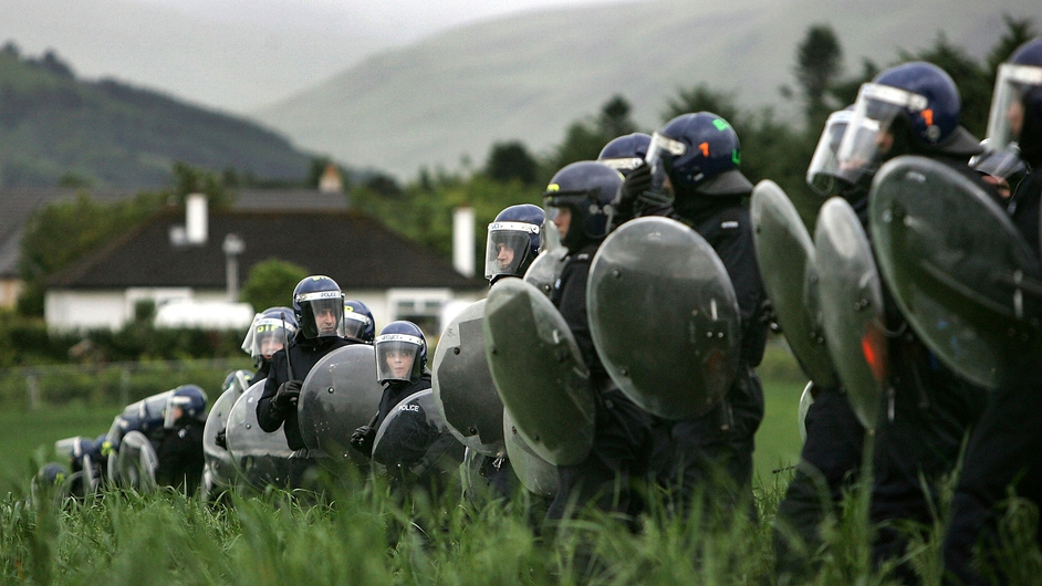 Police form a cordon around the venue during a previous UK-hosted G8 summit at Gleneagles, Scotland in 2005