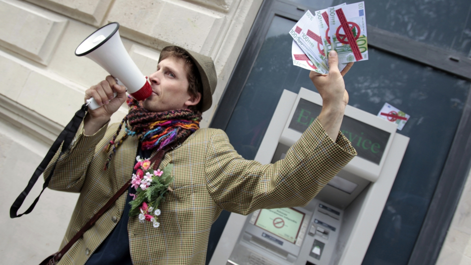 Fake bank notes were used in a protest against tax havens in the run-up to the 2011 Deauville G8 summit in France