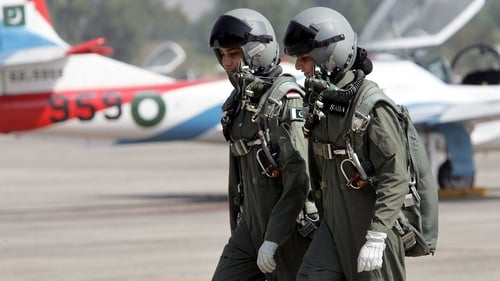Pakistani air force female cadets after a training flight