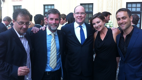The Love/Hate team (l-r Steve Matthews, David Caffrey, Suzanne McAuley) with Prince Albert II of Monaco (centre) and Irish actor Stuart Townsend (right)