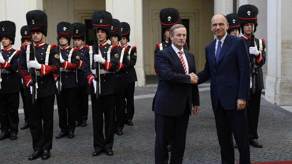 Italian Prime Minister Enrico Letta greets Taoiseach Enda Kenny prior to their meeting at Palazzo chigi in Rome