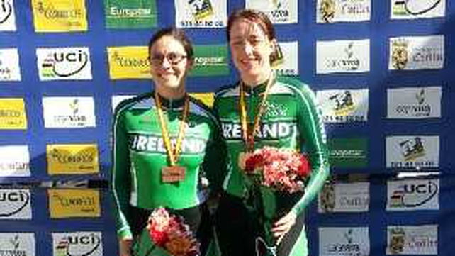 Katie-George Dunlevy and Anne Dalton with their medals earlier today