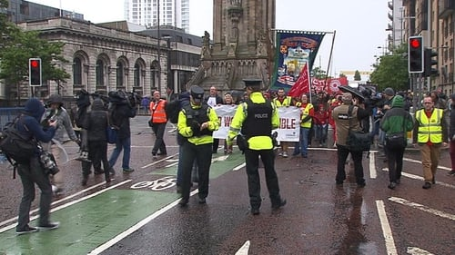 The PSNI monitored the march as it made its way through Belfast