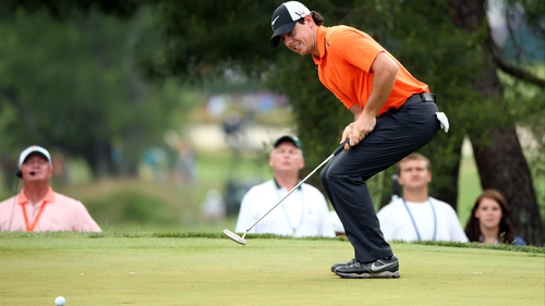 Rory McIlroy lies on three over, just four shots off the lead at halfway