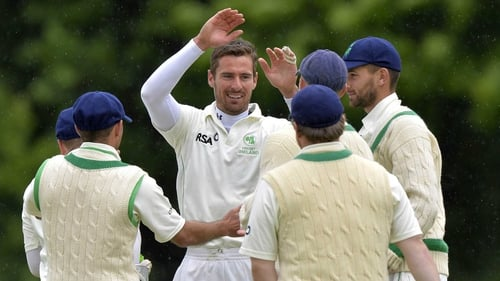 Max Sorensen celebrates his fifth wicket