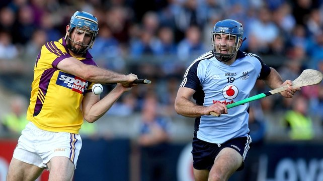 Dublin's Stephen Hiney and Wexford's Garrett Sinnott