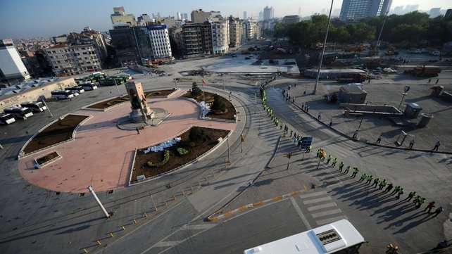 Turkish police blocked Taksim Square early in the morning