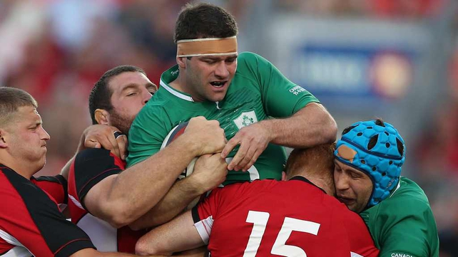 Fergus McFadden in action against Canada yesterday