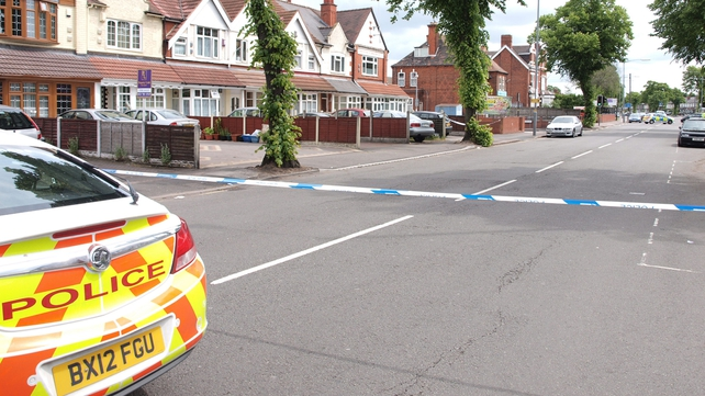 The scene at Washwood Heath Muslim Centre in Birmingham where three men and a police officer were stabbed