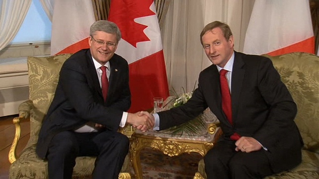 Taoiseach Enda Kenny and Canadian PM Stephen Harper held talks ahead of the G8 summit in Enniskillen