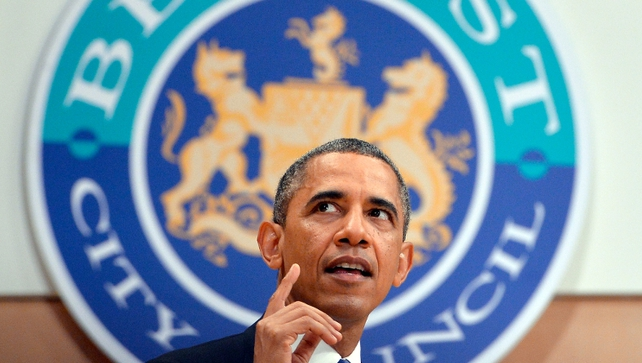 Mr Obama delivered a keynote address about the Northern Ireland peace process