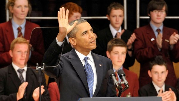 Barack Obama addressed students at the Waterfront Convention Centre