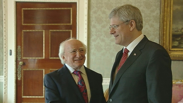 Canadian Prime Minister Stephen Harper calls on President Michael D Higgins ahead of the summit