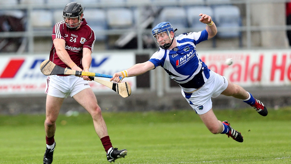 Darren Maher of Laois tries to block Aonghus Callanan of Galway during their Leinster SHC tie