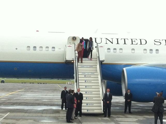 Michelle, Malia and Sasha Obama arrive at Dublin Airport