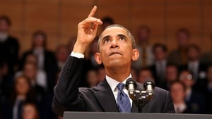 US President Barack Obama delivers a keynote address at Waterfront Hall in Belfast, ahead of the G8 Summit
