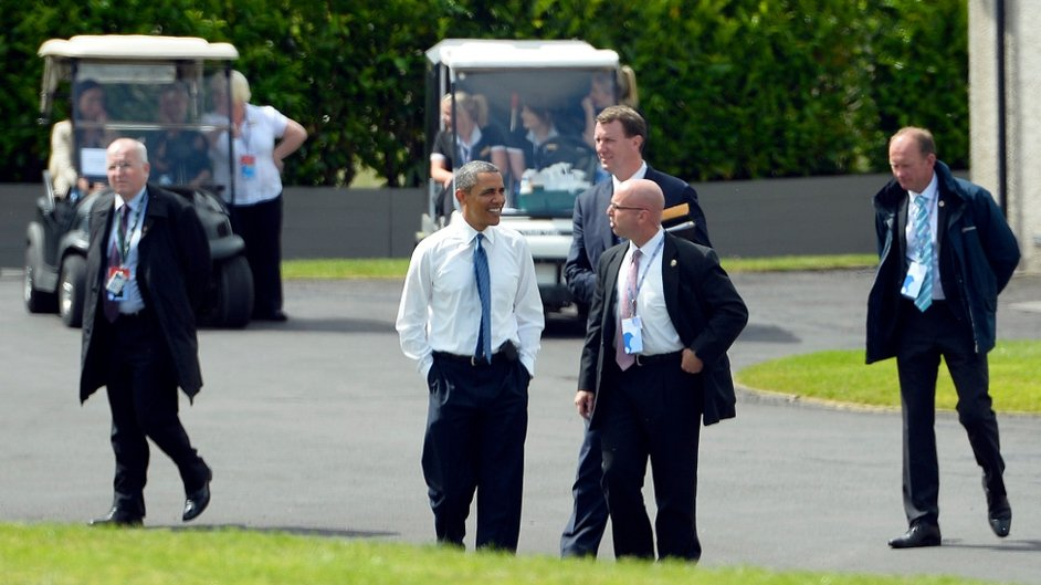 Mr Obama takes a tour of the accommodation for leaders at the Lough Erne resort in Enniskillen