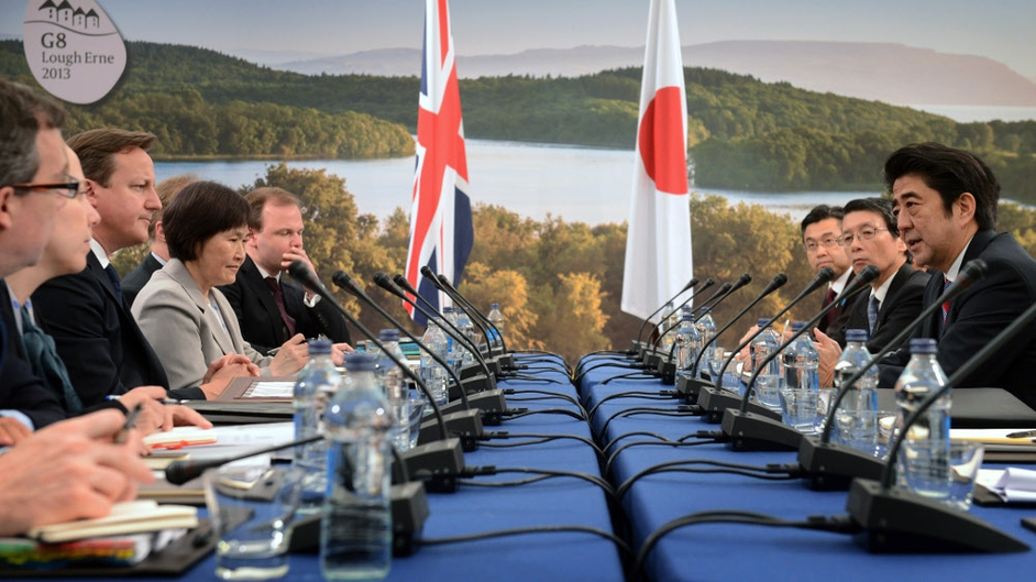 British Prime Minister David Cameron hold talks with Japan's Prime Minister Shinzo Abe during the first day of the G8 summit