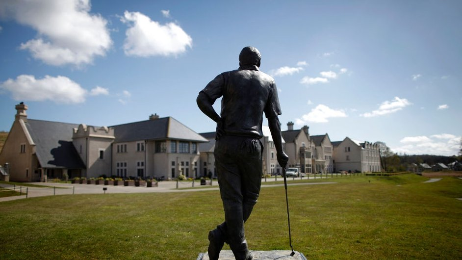 A statue of Nick Faldo standing in the grounds of the Lough Erne golf resort, which is hosting the G8 summit
