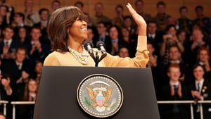 Michelle Obama gave a speech to thousands of students at the Waterfront Hall in Belfast before travelling to Dublin