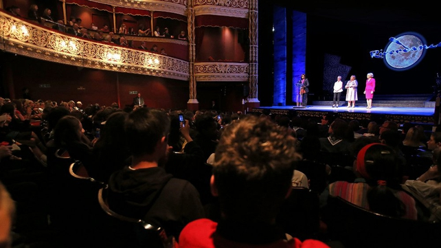Michelle Obama addressed the audience before a special performance of Riverdance at the Gaiety Theatre