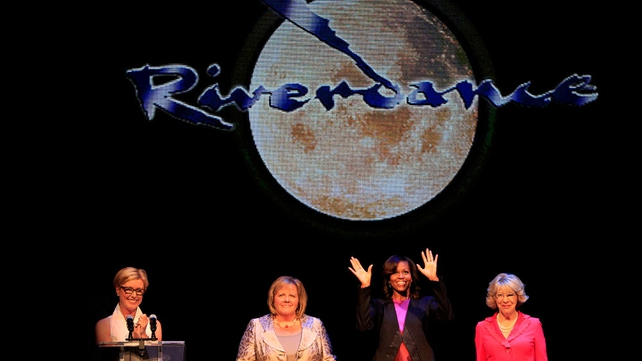 Michelle Obama was joined on stage by (L-R) Moya Doherty, Fionnuala Kenny and Sabina Higgins